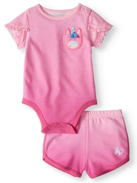Baby Girls' Tulip Sleeve Bodysuit and French Terry Shorts, 2-Piece Outfit Set