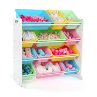 Tot Tutors Kids Toy Storage Organizer with 12 Plastic Bins, Multiple Colors