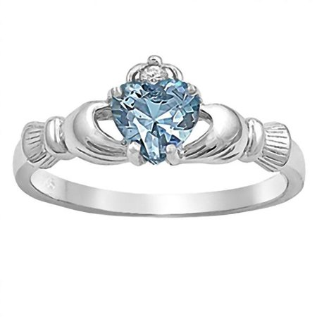 Kandice: 0.765ct Heart cut Simulated Aquamarine Ice CZ Claddagh Ring Sterling Silver sz (Claddagh Box)