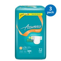(3 Pack) Assurance Incontinence Stretch Briefs With Tabs Unisex, Ultimate, L/XL, 32 Ct
