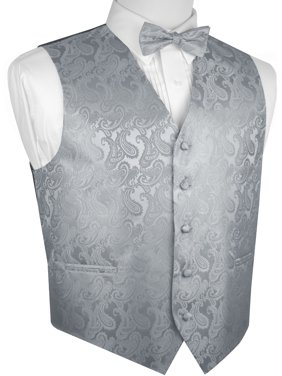 Men's Formal, Prom, Wedding, Tuxedo Vest, Bow-Tie & Hankie Set in Silver Paisley