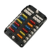 universal auto car 12-way blade fuse standard circuit holder box block dc  12-