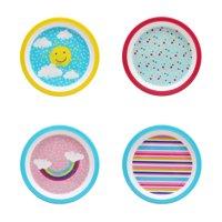 Mainstays Kids 4 Pack Melamine Plate, Multiple Prints