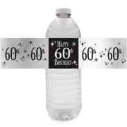 Silver Foil 60th Birthday Bottle Labels