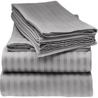 ELAINE KAREN 1800 Series - Soft Brushed Microfiber - Striped KING Bed Sheet Set, Grey