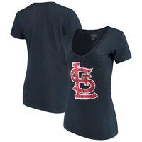 St. Louis Cardinals New Era Women's V-Neck T-Shirt - Navy