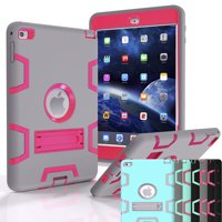 iPad Mini 4 Case, Shock Absorbing Heavy Duty Defender Silicone Hard Case With Kickstand Full Body Anti-slip Protective Cover For Apple iPad Mini 4 Njjex [New Troyal]