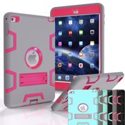 iPad Mini 4 Case, Shock Absorbing Heavy Duty Defender Silicone Hard Case With Kickstand Full