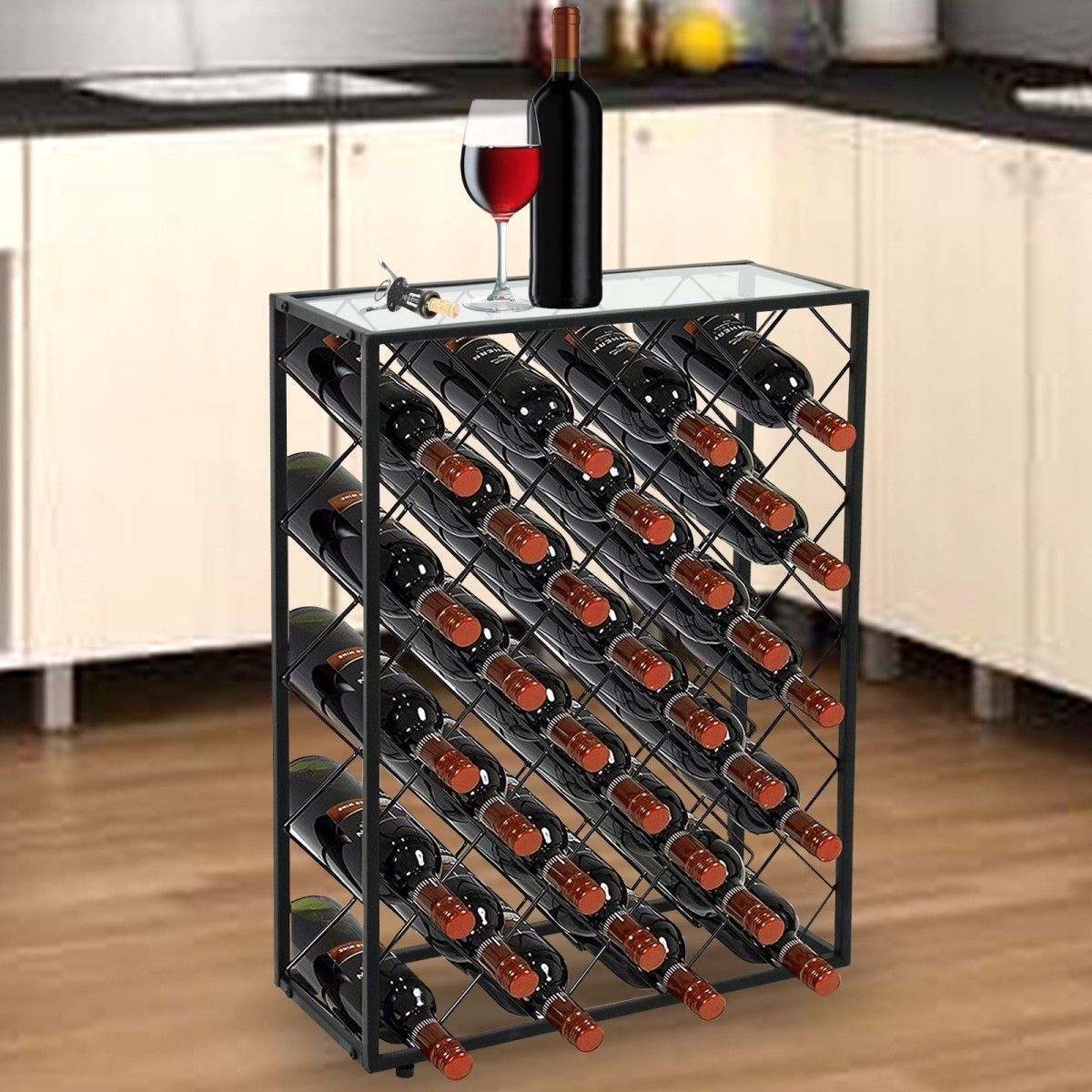 Wine storage table Wine Bottle Zeny 32 Bottle Wine Rack Storage Display Table Cork Storage Holder Metal Home Decor Confortdoorscom Wine Tables