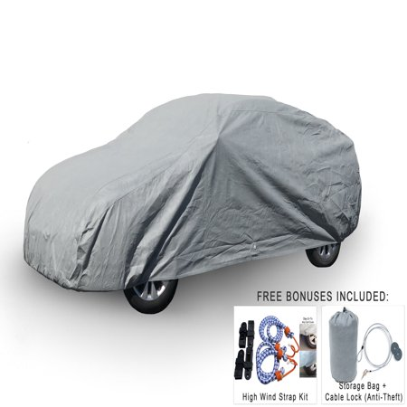 Weatherproof Car Cover For Chrysler PT Cruiser 2001-2010 - 5L Outdoor & Indoor - Protect From Rain, Snow, Hail, UV Rays, Sun & More - Fleece Lining - Includes Anti-Theft Cable Lock, Bag & Wind Straps