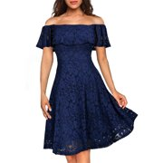 35a821718aec MIUSOL Women's Casual Off Shoulder Floral Lace Party Swing Dresses for  Women (Blue ...