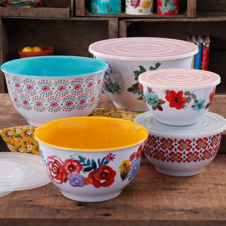 - The Pioneer Woman Country Garden Nesting Mixing Bowl Set, 10-Piece, Multiple Patterns