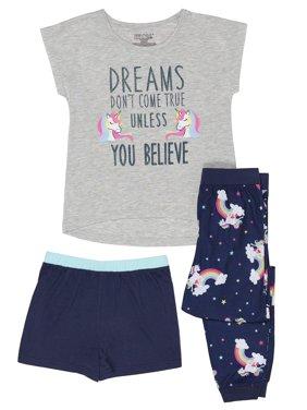 """Girls' Saint Eve Girl's """"Unless You Believe"""" Unicorn 3 Piece Pajama Sleep Set (Little Girl & Big Girl)"""