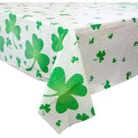 """Plastic Lucky Shamrock St. Patrick's Day Table Cover, 84"""" x 54"""""""