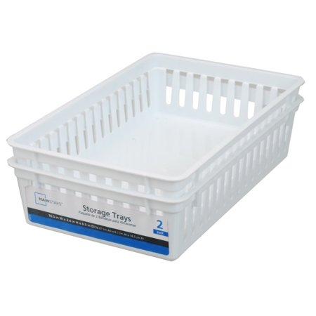 Mainstays Rectangular Mini Bin Storage Trays White 2pk