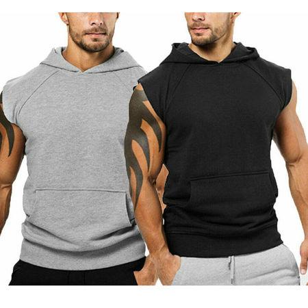Men Muscle Hoodie Tank Top Bodybuilding Gym Workout Sleeveless Vest T-Shirt
