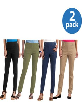 White Stag Women's Classic Stretch Pull-On Pants Available in Regular and Petite 2 Pack Value Bundle