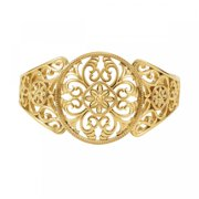 Filigree Design Cuff Bracelet Brc736 / 14Kt Yellow / Bracelet / Polished / Precious Metal Fash Cuff Brc