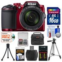 Nikon Coolpix B500 Wi-Fi Digital Camera (Red) with 16GB Card + Case + Batteries & Charger + Tripod + Kit