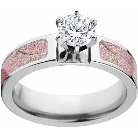 Bezel Setting Engagement Rings (AP Pink Women's Camo 1 Carat T.G.W. Round CZ in 14kt Whit Gold Prong Setting Cobalt Engagement Ring with Polished Edges and Deluxe Comfort)