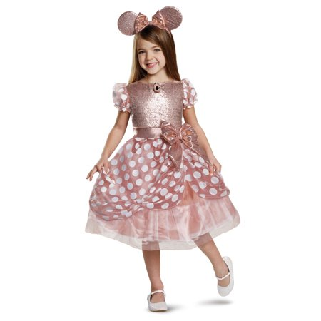 Halloween Rose Gold Minnie Deluxe Toddler Costume (Pink Minnie Mouse Halloween Costume)