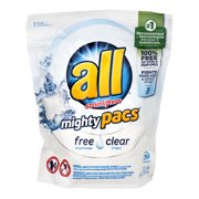 All with Stainlifters Mighty Pacs Free Clear Detergent Pacs, 28 count, 1.21 lb