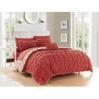 Chic Home Jana 4 Piece Reversible Duvet Cover Set Microfiber Global Inspired Print with Classic Pleated Pin Tuck Backing Zipper Closure Bedding with Decorative Pillow Shams, Queen Brick Red