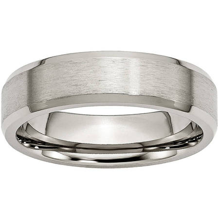 Titanium Beveled Edge 6mm Brushed and Polished Band