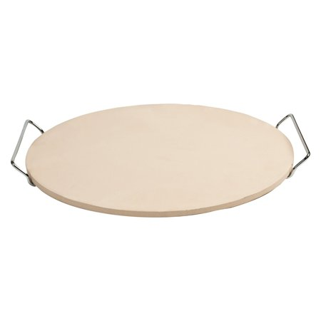 "Pizzacraft 15"" Round Ceramic Pizza Stone and Baking Stone with Wire Frame, for Oven, Grill, or BBQ-PC0001"