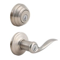 Kwikset 991 Tustin Keyed Entry Lever and Single Cylinder Deadbolt Combo Pack featuring SmartKey®,Satin Nickel, 99910-040