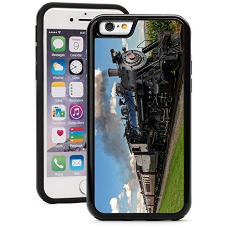 For Apple iPhone Shockproof Impact Hard Soft Case Cover Historic Steam Train (Black for iPhone -