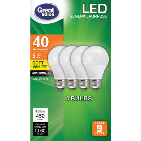 Great Value LED Light Bulbs, 5W (40W Equivalent), Soft White,