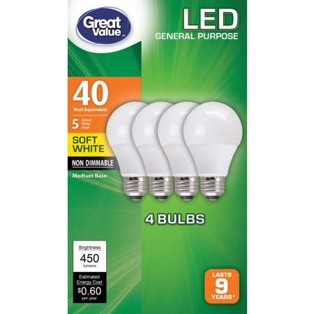 Light Bulb Collection - Great Value LED Light Bulbs, 5W (40W Equivalent), Soft White, 4-count