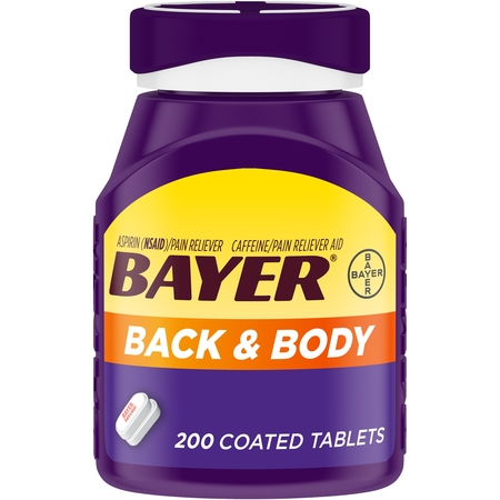 Bayer Back & Body Extra Strength Pain Reliever Aspirin w Caffeine, 500mg Coated Tablets, 200 - Acrylic Pan