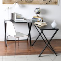 Walker Edison Glass and Metal X-Frame Corner Computer Desk, Black