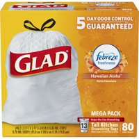 Glad OdorShield Tall Kitchen Drawstring Trash Bags - Febreze Hawaiian Aloha - 13 Gallon - 80 ct