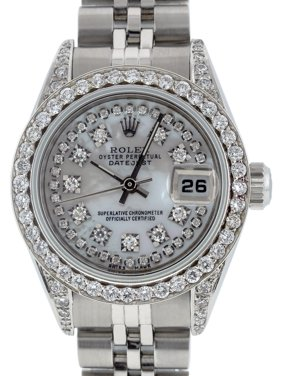 Pre-Owned Rolex Ladies Datejust Steel & 18K White Gold MOP Diamond Watch Jubilee Quick-Set