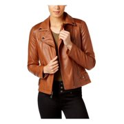 a6adcb1561af1 GUESS Womens Studded Faux-Leather Moto Jacket Cognac M