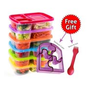 Perfect Fit Bento Lunch Box Food Containers – Set of 6 Premium Lunch Boxes– Ideal for Adults, Kids, Girls and Boys – 3 Compartment Japanese Style Lunch Boxes – Free 2-in-1 Fork/Spoon & Puzzle Sandwich Cutter