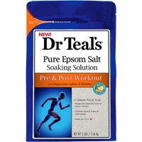 Dr Teal's Pure Epsom Salt Soaking Solution, Pre & Post Workout with Magnesium Sulfate & Menthol, 3 lb