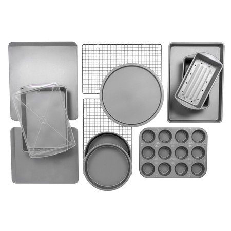 BakerEze 12-Piece Bakeware Set, Muffin Cookie & Pizza (Silicone Mini Bakeware Set)