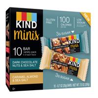 KIND Minis Variety Pack, 10 Ct, Dark Chocolate Nuts & Sea Salt + Caramel Almond & Sea Salt