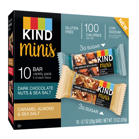 KIND Minis Variety Pack, 10 Ct, Dark Chocolate Nuts & Sea Salt + Caramel Almond & Sea Salt
