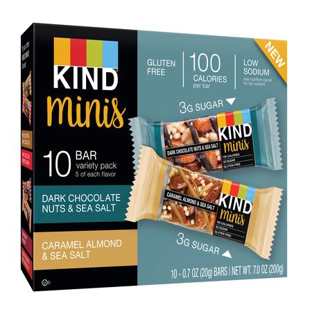 KIND Minis Variety Pack, 10 Ct, Dark Chocolate Nuts & Sea Salt + Caramel Almond & Sea