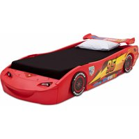 Disney Pixar Cars Lightning McQueen Plastic Twin Bed with Lights by Delta Children
