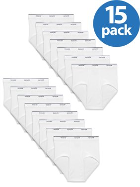 Men's Dual Defense Classic White Briefs, 15 Pack