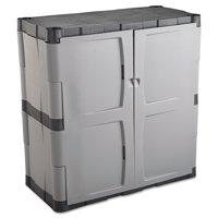Rubbermaid Double-Door Storage Cabinet - Base, 36w x 18d x 36h, Gray/Black