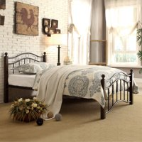 Abigail Brown Metal Platform Bed, Multiple Sizes