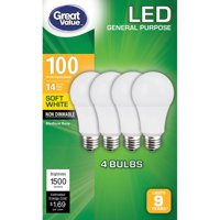 Great Value General Purpose LED Light Bulbs, 14W (100W Equivalent), Soft White, Non Dimmable, 4 Count
