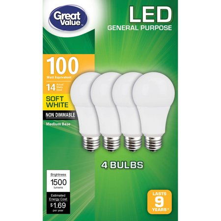 Great Value General Purpose LED Light Bulbs, 14W (100W Equivalent), Soft White, Non Dimmable, 4 -